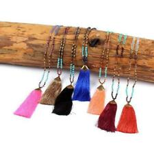 Hot Boho Nylon Tassel Pendant Pearls Faux Beads Long Chain Statement Necklace