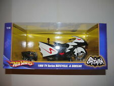 Hot Wheels Batman BATCYCLE with Sidecar 1:12 Scale Diecast NEW 1966 TV Series