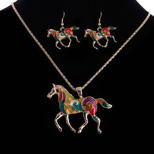 Beautiful Lady Jewelry Set Necklace Earring Gold Silver Plated Horse Unique Gift