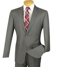 Men's Gray 2 Button Slim Fit Suit w/ Pick Stitch Finish NEW