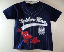 New Boy's Marvel SPIDERMAN Navy Blue Baseball Jersey Theme Shirt, Sz  3T