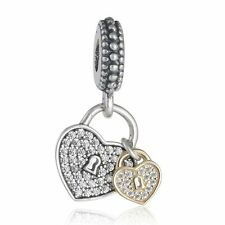 New sterling-silver & Gold Plated CZ Pave Love Locks Heart Dangle Charm Bead
