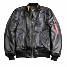 Alpha Industries MA-1 VF PM - Bomber Jacket genuine Nappa Leather in Black - New