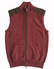 Daniel Cremieux Mens Wool Blend Suede Patch Zip Front Vest Sweater Sz M L XL NWT