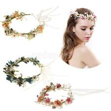 Bridal Pearl Flower Crown Headband Wedding Prom Beach Wreath Garland Hairband