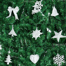 10pcs Christmas Tree Pendant Star Heart Reindeer Snowflake Bowknot Decor