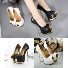 Peep Toe Platform Stiletto Pump High Heel Square Bottom Sexy Check Womens Shoes