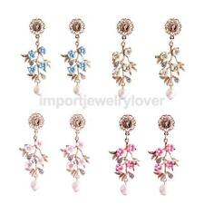 Fashion Women Flower Leaves Crystal Rhinestone Faux Pearls Drop/Dangle Earrings