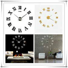 New Metal Silver Vintage Roman Numeral Number Frameless Wall Clock 3D LY