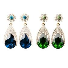 Charming Women Gemstone Rhinestone Dangle Ear Stud Earrings Drop Wedding Jewelry