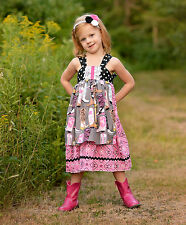 Girls Apron Reverse Knot Dress Hold Your Horses Collection