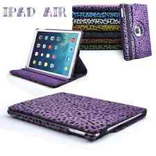 360 rotation Leopard Faux Fur Stand Case Cover For Apple iPad 5 / iPad Air