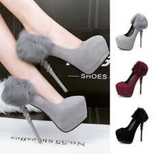 Helical High Heel Platform Solid Stiletto Hairy Pump Womens Shoes Sexy Clubwear