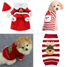 Pet Puppy Cat Dog Christmas Santa Claus Sweater Outwear Xmas Tree Outfit Apparel