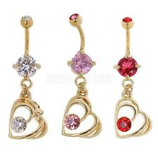 Christmas Crystal Love Surgical Steel Belly Button Navel Ring Body Piercing