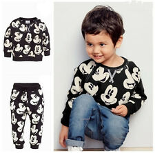 Kids Boys Girls Mickey Minnie Mouse Jumper Trousers Set Clothes Top Bottom Gifts