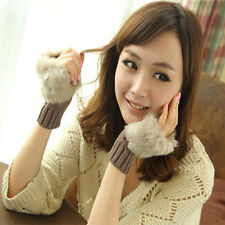 Winter Women Ladies Fingerless Faux Fur Wrist Knitted Wool Mitten Gloves Warm US
