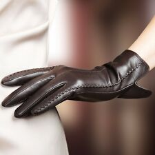 Elegant Women Genuine Lambskin Leather Gloves Autumn And Winter Thermal Hot Tren