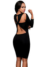 Sexy women Black Cut out Back Long Sleeves bandage club party  Bodycon Dress