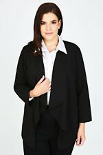 Plus Size Black Crepe Waterfall Blazer Jacket   Size