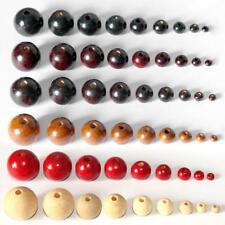 50x Round Wooden Loose Beads DIY Necklace Jewelry Making Findings Craft Supply