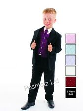 Boys Suits 5pc Purple Formal Suit Wedding Christening Pageboy (0-3mths-14yrs)
