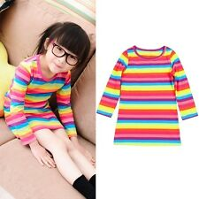 2-11Y Toddler Baby Girl Kid Clothes Long Sleeve Striped Tops Party T-Shirt Dress
