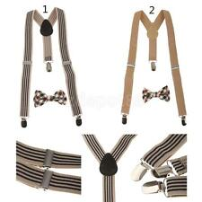 Kid's Boy's Adjustable Suspender Set Clip-on Braces with Bow Plaid Bowtie