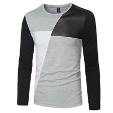 Mens T-Shirts Long Sleeve Slim Fit Shirt Patchwork Crew neck Pullover Tops