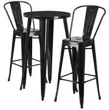 Flash Furniture 24'' Round Metal In/Outdoor Bar Table Set w/ 2 Cafe Barstools