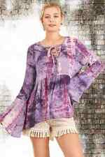 UMGEE Purple Tie Dye Lace Up Boho Gypsy Cotton Top Long Bell Sleeves