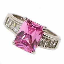 Pink Cocktail Ring Cubic Zirconia Emerald Cut Sterling Silver Fashion r069