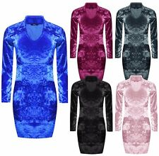 Womens Ladies Crushed Velvet Choker Neck Long Sleeve Bodycon Mini Dress UK 8-14