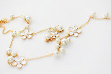Women Girls Pearl Flower Pendant Long Sweater Chain Necklace Charm Jewelry