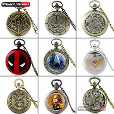 Antique Vintage Steampunk Retro Pocket Watch Quartz Necklace Pendant Mens Gift