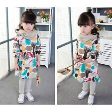 2-7Y Toddler Baby Girls Autumn Cute Clothes Long Sleeve Party Tops T-Shirt Dress