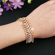 Women Rhinestone Alloy Party Wedding Wrap Cuff Bangle Chain Bracelet Hot