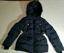 ZARA GIRLS QUILTED PUFF COAT WITH FAUX FUR HOOD