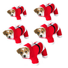 Pet Puppy Dog Cat Christmas Halloween Clothes Costume Santa Claus Outfit Coat