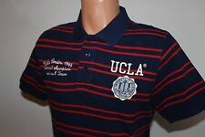 "Mens UCLA Polo Shirt ""WARE"" Striped Fitted Varsity Polo Top Shirt Tee NEW- NAVY"