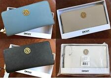 DKNY Donna Karan Bryant Park Saffiano Leather Zip Around Wallet with Gift Box