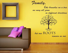 Family Like Branches Quote, Vinyl Wall Art Sticker Decal Mural. Family Tree