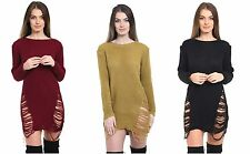 New Womens Ladies Ripped Distressed Long Sleeve Knitted Jumper Dress Top Sweater