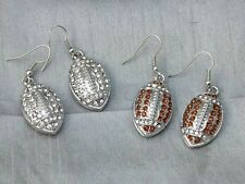Ships From USA Football Dangle Crystal Bling Earrings NFL College Jewelry Team