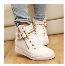 Womens Lace Up Studded Zipper High Top Sneakers Walking Trainer Canvas Shoes Sz