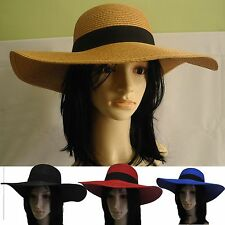 New Lady Women Large Wide Brim Straw summer Hat sun visor Floppy Sun Beach Cap