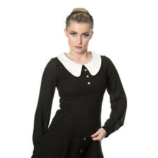 Banned Womens 50s Style Vintage Black/Cream Large Collared Long Sleeve Blouse