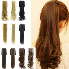 Fashion Clip in Hair Extension Long Curly Straight Ponytail Synthetic Hair Piece