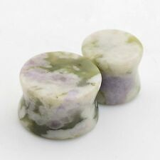 PAIR of Snowflake Jade Stone Ear Gauge Plug-Ear Tunnel-Saddle Ear Piercing Plugs