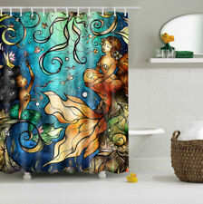 Abstract Seabed Mermaid Design Bathroom Waterproof Fabric Custom Shower Curtain
